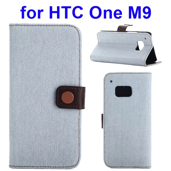 Denim Texture Flip Wallet Leather Case Cover for HTC One M9 with Card Slots (White)