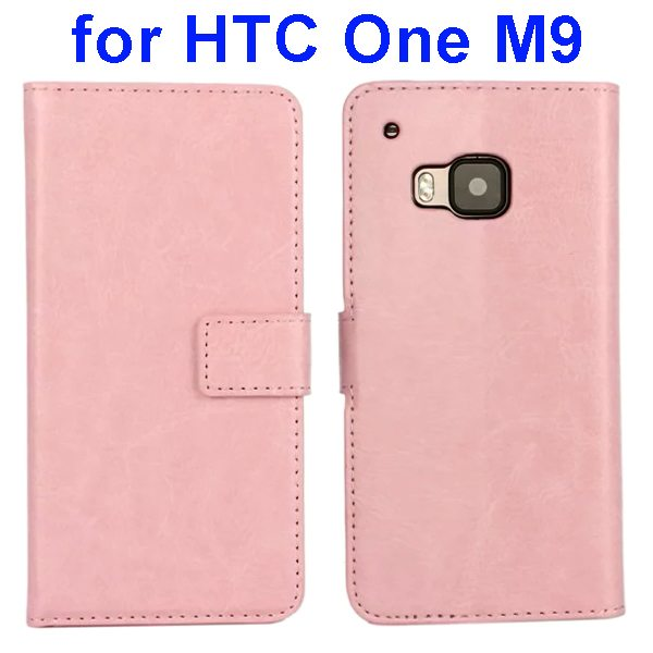 Crazy Horse Texture Flip Wallet Leather Case Cover for HTC M9 (Pink)