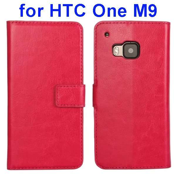 Crazy Horse Texture Flip Wallet Leather Case Cover for HTC M9 (Red)