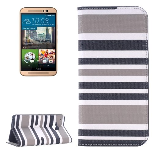 Color Stripe Matching Texture PU Mobile Phone Case Cover for HTC One M9 (Grey and Black)