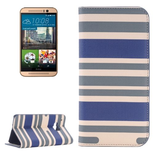 Color Stripe Matching Texture PU Mobile Phone Case Cover for HTC One M9 (Grey and Blue)