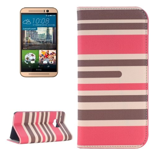 Color Stripe Matching Texture PU Mobile Phone Case Cover for HTC One M9 (Grey and Red)