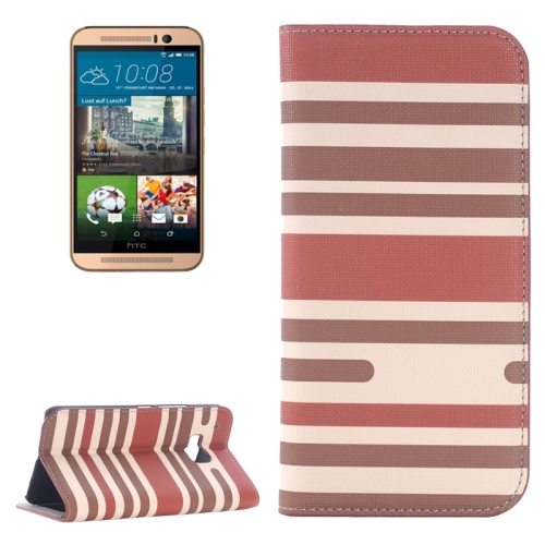Color Stripe Matching Texture PU Mobile Phone Case Cover for HTC One M9 (Brown)