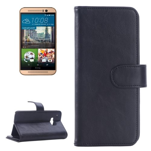 Flip Magnetic Wallet Leather Case Cover for HTC One M9 with Card Slots (Black)