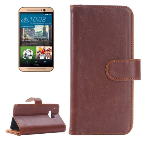 Flip Magnetic Wallet Leather Case Cover for HTC One M9 with Card Slots (Coffee)
