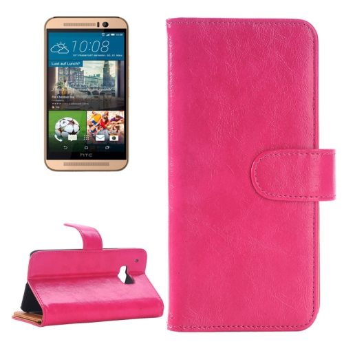 Flip Magnetic Wallet Leather Case Cover for HTC One M9 with Card Slots (Magenta)