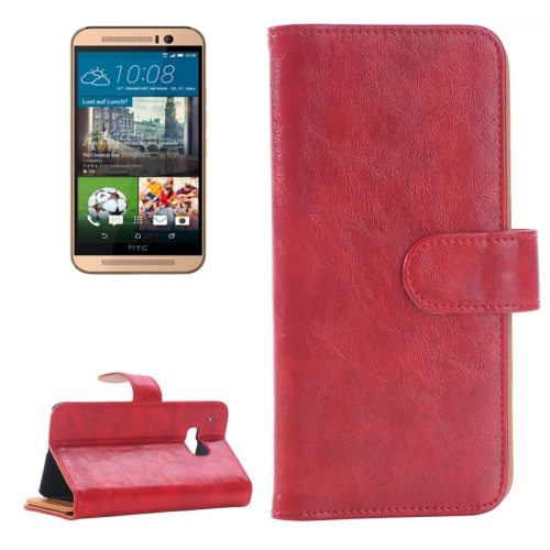 Flip Magnetic Wallet Leather Case Cover for HTC One M9 with Card Slots (Red)