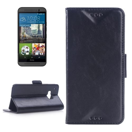 Best Selling Oil Skin Texture Flip Magnetic Leather Case with Holder for HTC One M9(Black)