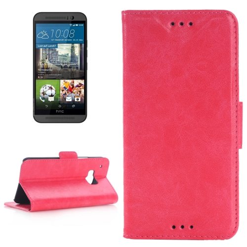 Best Selling Oil Skin Texture Flip Magnetic Leather Case with Holder for HTC One M9(Rose)