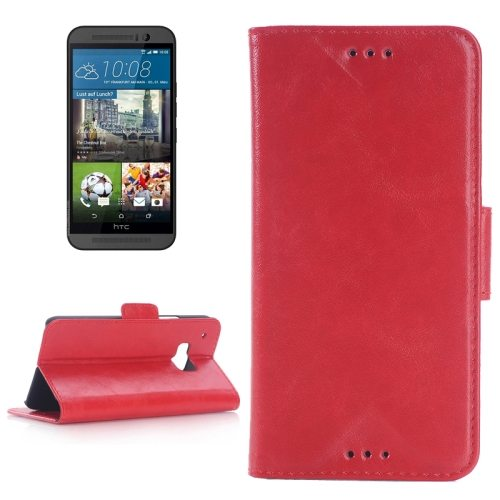 Best Selling Oil Skin Texture Flip Magnetic Leather Case with Holder for HTC One M9(Red)