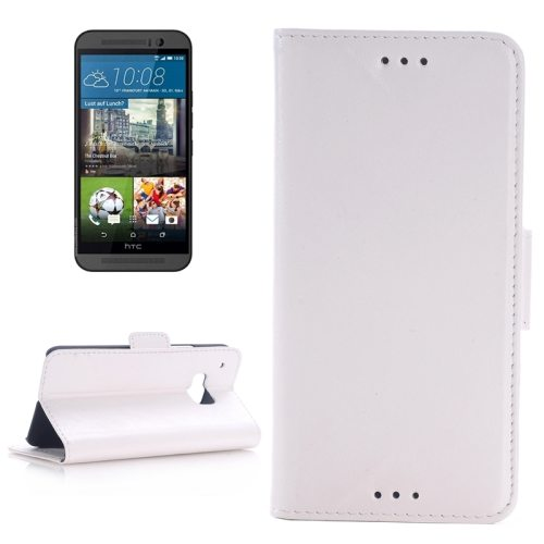 Best Selling Oil Skin Texture Flip Magnetic Leather Case with Holder for HTC One M9(White)