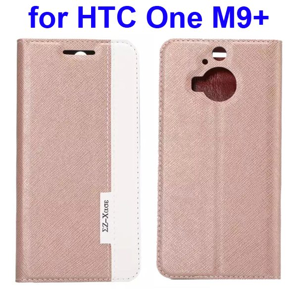Cross Texture Mix Color Flip Leather Case for HTC One M9+ with Holder and Card Slot (Golden)