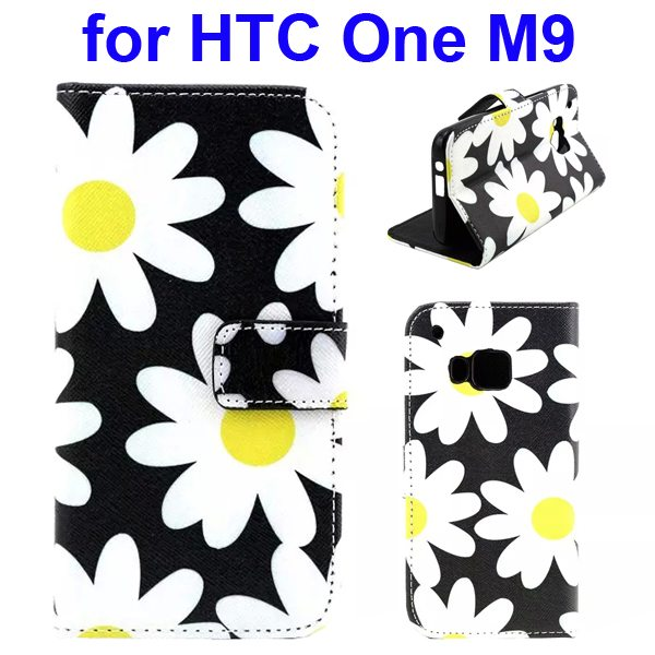 Colorful Printing Texture Flip Magnetic Leather Mobile Case Cover for HTC One M9 (Flower)
