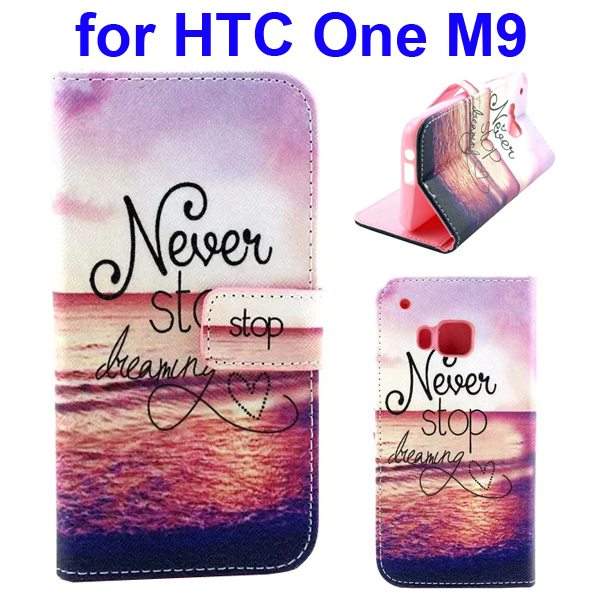 Colorful Printing Texture Flip Magnetic Leather Mobile Case Cover for HTC One M9 (Sea)