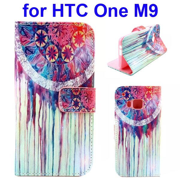 Colorful Printing Texture Flip Magnetic Leather Mobile Case Cover for HTC One M9 (Wind Bell)