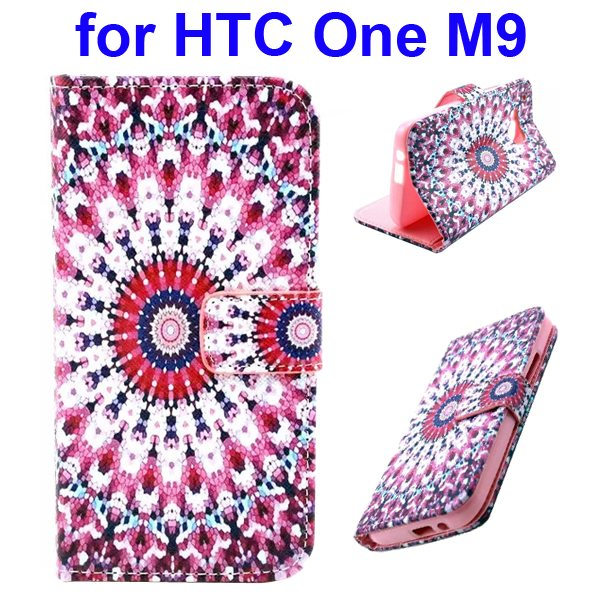 Colorful Printing Texture Flip Magnetic Leather Mobile Case Cover for HTC One M9 (Kaleidoscope)