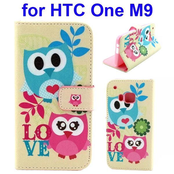 Colorful Printing Texture Flip Magnetic Leather Mobile Case Cover for HTC One M9 (Two Owls)