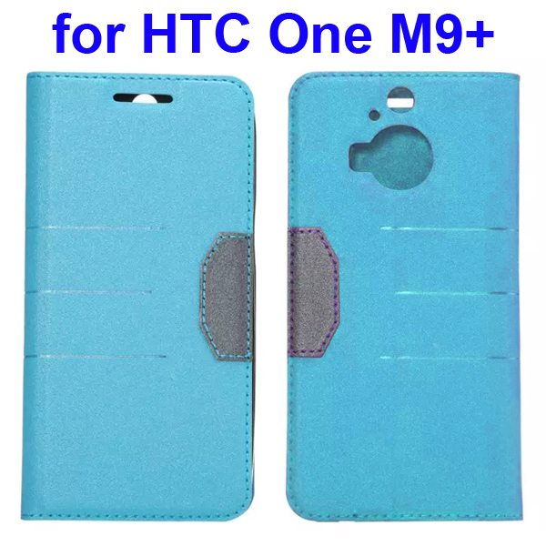 Wholesale Frosted PU Absorbed Flip Leather Cover Case for HTC One M9+ (Baby Blue)
