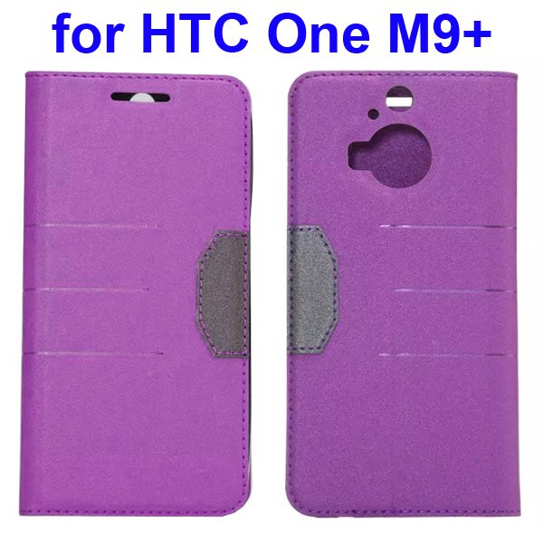Wholesale Frosted PU Absorbed Flip Leather Cover Case for HTC One M9+ (Purple)