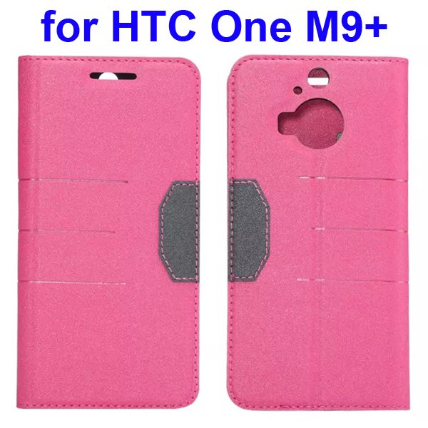 Wholesale Frosted PU Absorbed Flip Leather Cover Case for HTC One M9+ (Pink)