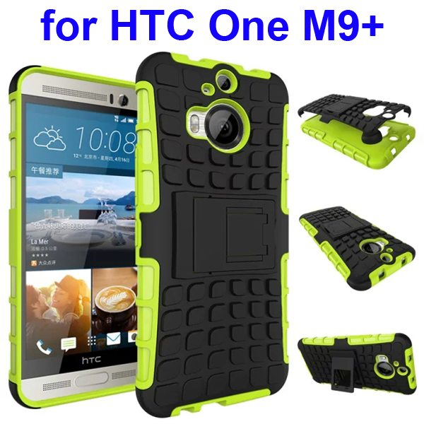 Antiskid 2 in 1 TPU and PC Case for HTC One M9+ with Kickstand (Green)