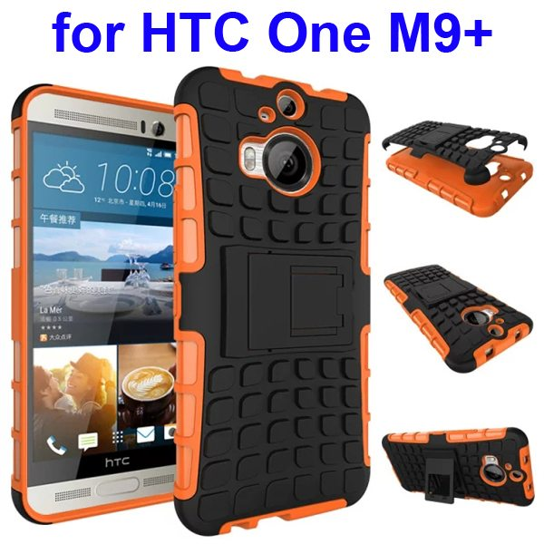 Antiskid 2 in 1 TPU and PC Case for HTC One M9+ with Kickstand (Orange)