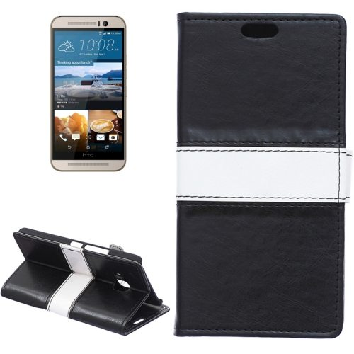 Nice Design Color Matching Wallet Pattern Leather Case Cover for HTC One M9 with Holder and Card Slots (Black)