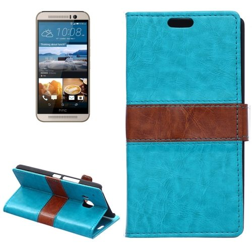 Nice Design Color Matching Wallet Pattern Leather Case Cover for HTC One M9 with Holder and Card Slots (Blue)