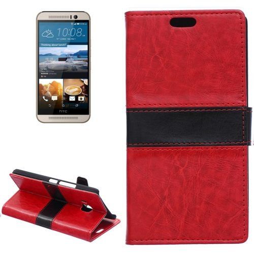 Nice Design Color Matching Wallet Pattern Leather Case Cover for HTC One M9 with Holder and Card Slots (Red