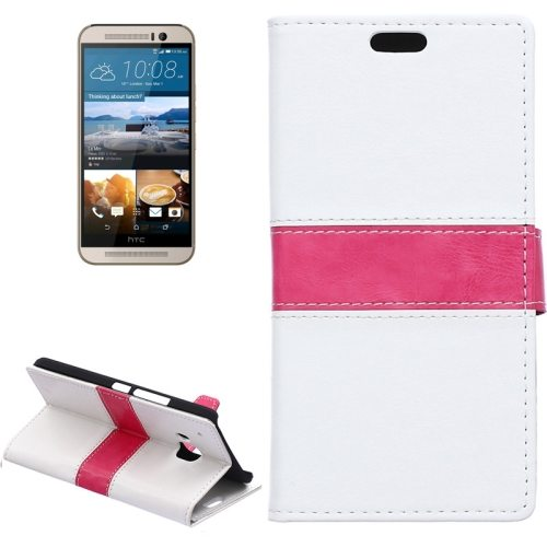 Nice Design Color Matching Wallet Pattern Leather Case Cover for HTC One M9 with Holder and Card Slots (White)