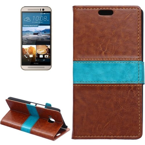 Nice Design Color Matching Wallet Pattern Leather Case Cover for HTC One M9 with Holder and Card Slots (Brown)