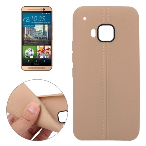 Superior Quality Leather Texture Soft TPU Case for HTC One M9 (Brown)