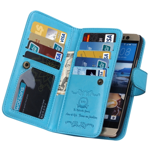 Crazy Horse Texture Flip Leather Case for HTC One M9 with Nine Card Slots (Blue)