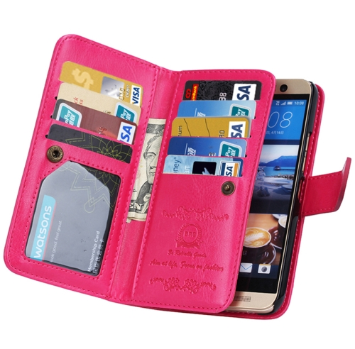 Crazy Horse Texture Flip Leather Case for HTC One M9 with Nine Card Slots (Rose)