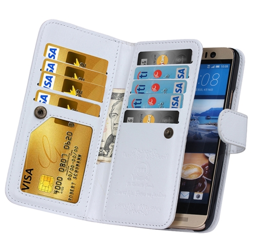Crazy Horse Texture Flip Leather Case for HTC One M9 with Nine Card Slots (White)