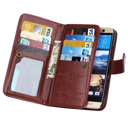 Crazy Horse Texture Flip Leather Case for HTC One M9 with Nine Card Slots (Brown)