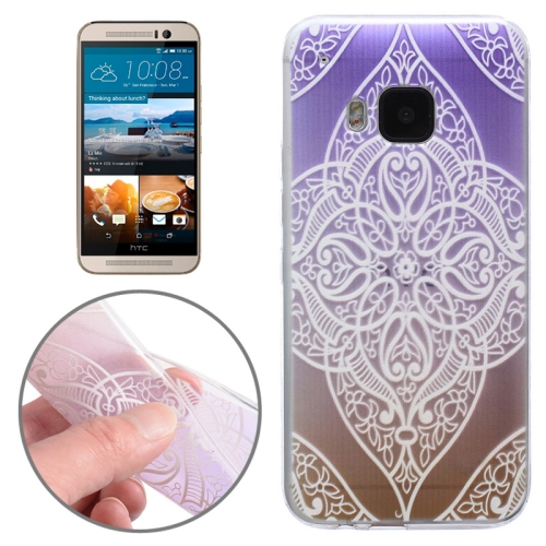 Translucent Flower Pattern Ultrathin Soft TPU Protective Case for HTC One M9 (Purple)