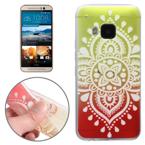 Translucent Flower Pattern Ultrathin Soft TPU Protective Case for HTC One M9 (Yellow)