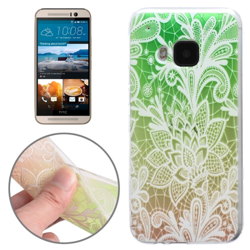 Translucent Flower Pattern Ultrathin Soft TPU Protective Case for HTC One M9 (Green)