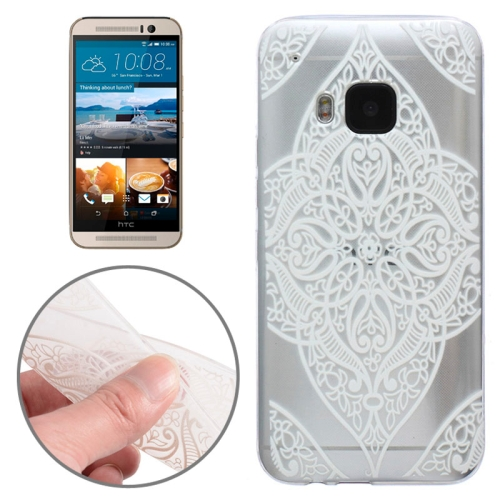 Translucent Flower Pattern Ultrathin Soft TPU Protective Case for HTC One M9 (White Flower Pattern 4)