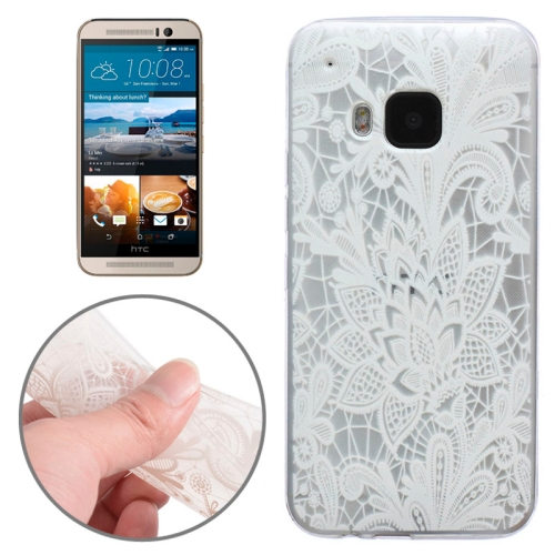 Translucent Flower Pattern Ultrathin Soft TPU Protective Case for HTC One M9 (White Flower Pattern 5)