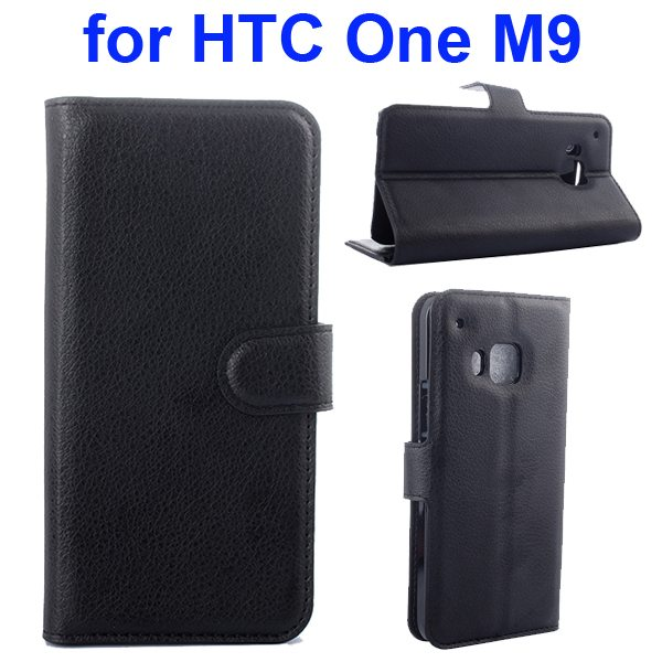 Litchi Texture Folio Flip Protective Wallet Leather Cover for HTC M9 with Card Slots (Black)