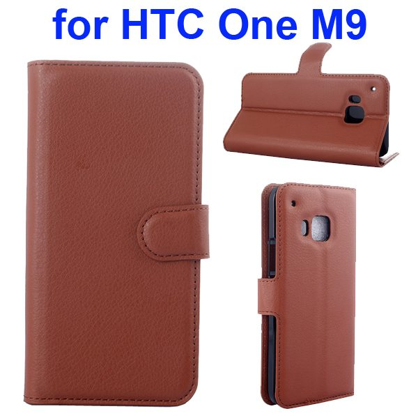 Litchi Texture Folio Flip Protective Wallet Leather Cover for HTC M9 with Card Slots (Brown)