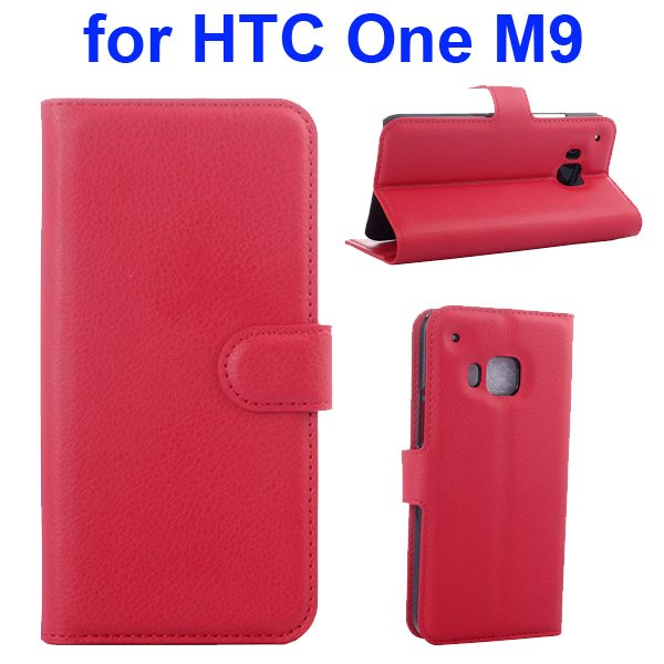 Litchi Texture Folio Flip Protective Wallet Leather Cover for HTC M9 with Card Slots (Red)