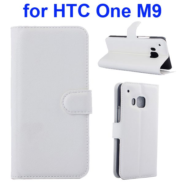 Litchi Texture Folio Flip Protective Wallet Leather Cover for HTC M9 with Card Slots (White)