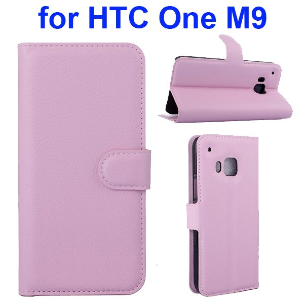 Litchi Texture Folio Flip Protective Wallet Leather Cover for HTC M9 with Card Slots (Pink)