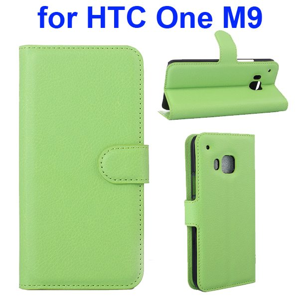 Litchi Texture Folio Flip Protective Wallet Leather Cover for HTC M9 with Card Slots (Green)