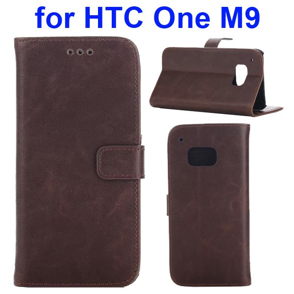 Crazy Horse Texture Retro Magnetic Wallet Leather Case for HTC One M9 with Stand (Brown)