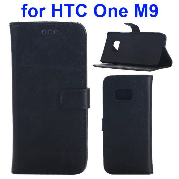 Crazy Horse Texture Retro Magnetic Wallet Leather Case for HTC One M9 with Stand (Black)