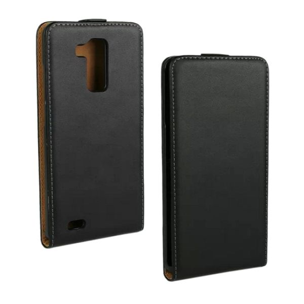 Up and Down Vertical Flip Genuine Leather Case for Huawei Mate 7 (Black)